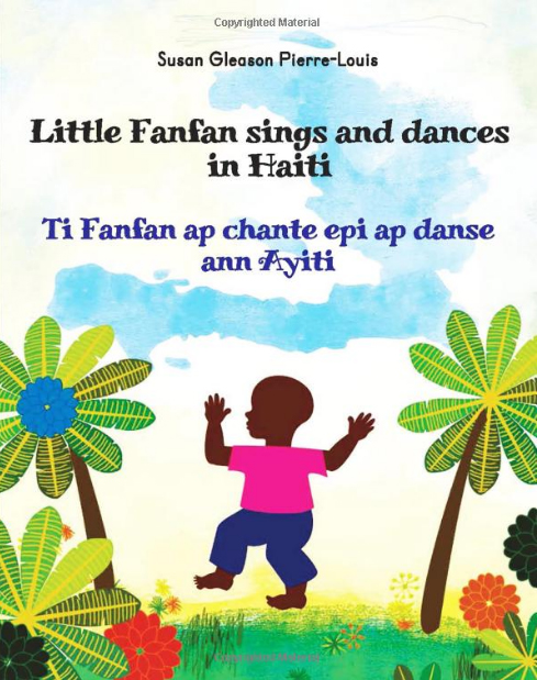 "Book cover for ""Little Fanfan sings and dances in Haiti"" depicting a little boy dancing among flowers"